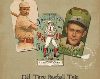 Old Time Baseball Tags Vintage Image Digital Download