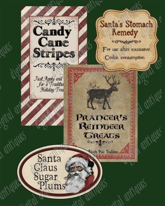 Santa's Pantry Labels - Christmas Labels -  Digital Download