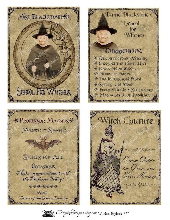 Vintage Halloween  Witch's Daybook  Printable Digital Download
