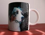 Australian Shepherd coffee mug with with idenifaction of breed on back