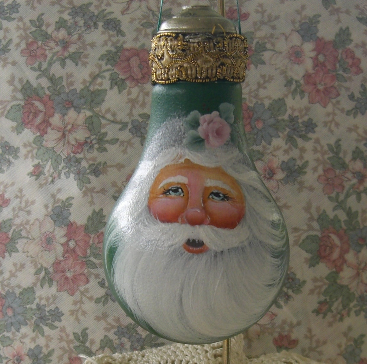Christmas Light Bulb Decorations: Hand Painted Santa Light Bulb Ornament In Green Personalized