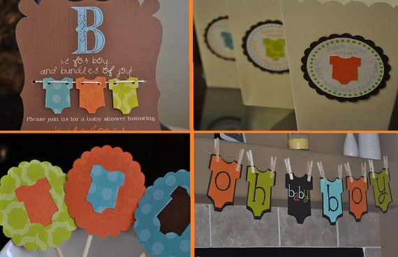 Baby boy shower party package, baby shower invitaiton, onesie theme, baby boy, favor boxes, banner, cupcake toppers