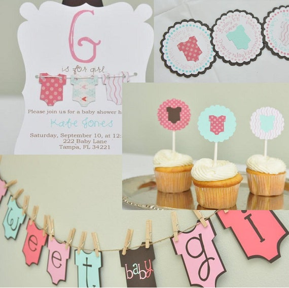 baby girl shower party package baby shower invitation onesie theme