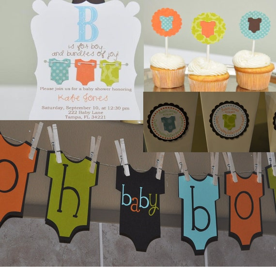 Baby boy shower party package, baby shower invitation, onesie theme, baby boy, favor boxes, banner, cupcake toppers