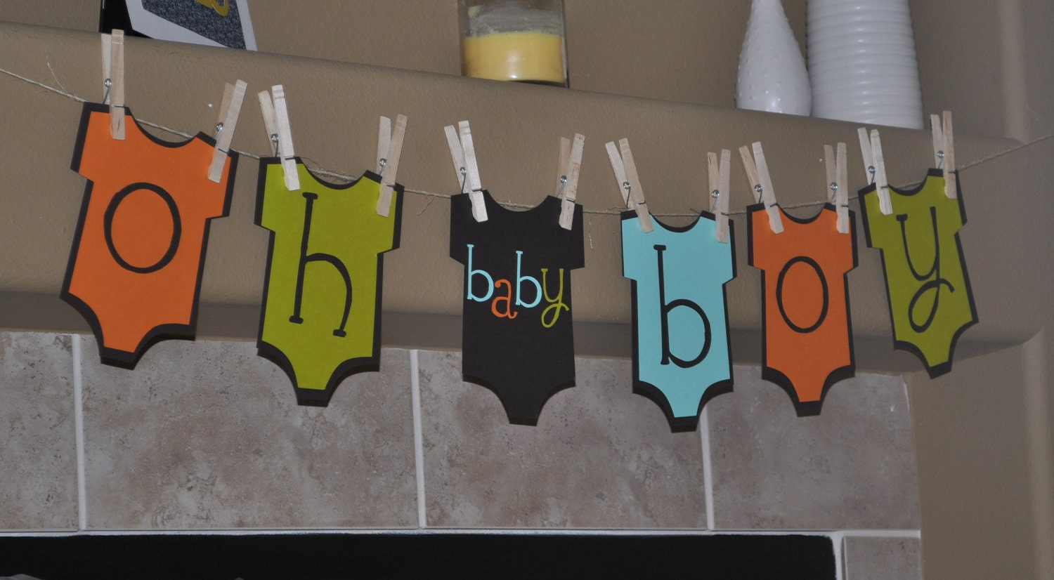 Baby boy onesie banner baby shower onesie theme baby boy for Baby shower decoration ideas diy