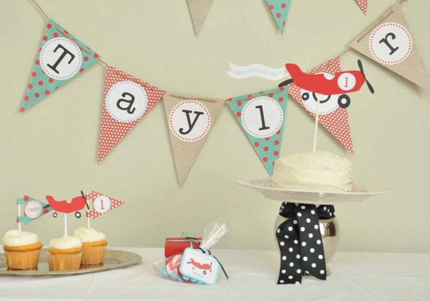 Airplane birthday party airplane party package vintage by for Airplane party decoration ideas