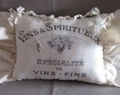 French Country Graphic Pillow, Ruffles, Hanging Pillow, Romantic, Cottage Chic, Ribbon
