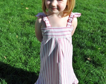 the Grace-fathers day -Sundress/ dress upcycled from dad's button-down shirt ECO FRIENDLY, 6 mo, 1yr, 2t, 3t, 4t, 5t, 6, 7, 8, 9