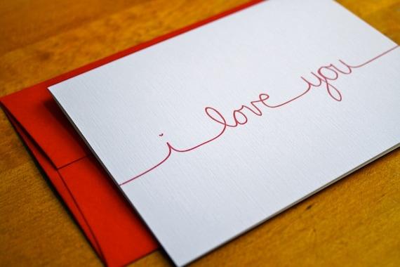 items similar to i love you cursive card on etsy