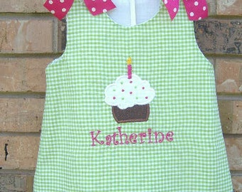 Lime Green Gingham A-Line Jumper Dress with Cupcake Applique and Monogram 6M 12M 2T 3T 4T 5T