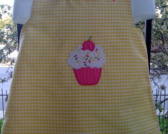 Custom Boutique Monogrammed yellow gingham with hot pink bows