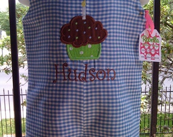 Blue gingham shortall Jon Jon with birthday cupcake Applique and monogram 3m, 6m, 9m, 12m, 18m, 24m/2t,3t,4t