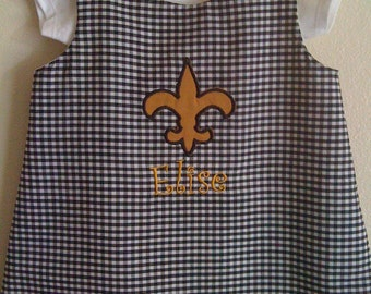 New Orleans Saints Fleur de Lis Monogrammed A line Dress