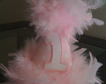 Pink Feathers Birthday Hat