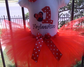 Custom Boutique monogrammed personalized minnie mouse red and white Birthday tutu set