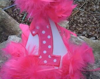 Hot pink feathersBirthday hat