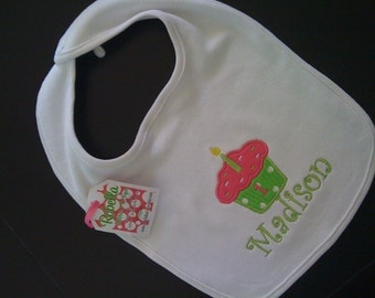 Lime green and hot pink cupcake monogrammed personalized Birthday bib m2m any color