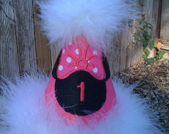 Hot pink Custom Boutique Minnie Mouse Birthday Hat