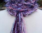 Crochet Scarf - Lightweight Spring Fringe Scarf Lilac, Pink, Light Blue, Purple - PURPLE SUNSET Pippy Scarf