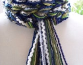 NAVY LEAVES Pippy Bohemian Scarf, Crochet Scarf, Womens Scarves