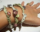 Beaded Wrap Bracelet  - Green with Charms - Pink Roses Crochet Jewelry