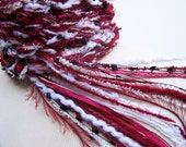 College Scarf, TEAM Crochet Scarf -Crimson and White, Red and White