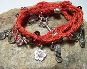 Charm Bracelet, Beaded Wrap Bracelet