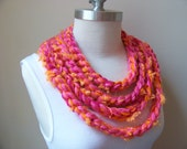 Clearance Sale Infinity Scarf..Crochet Circle Scarf, Hot Pink and Orange