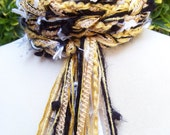 University Crochet Scarf - Black and Gold, College Scarf, Team Scarf