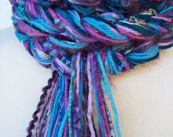 Crochet Scarf, Bohemian Scarf, Pippy Scarf Women's Fashion Scarfs, Turquoise Scarf, Teal Scarf