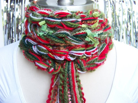 CHRISTMAS Scarf , Pippy Crochet Scarf, Greens, Reds, Silver and White  - Multi Yarn