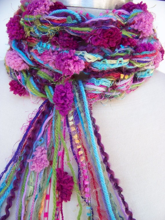 Crochet Scarf, CALYPSO Pom Pom Pippy Scarf  - Turquoise, Pink, Purple, Blue, Green, Knitted Scarf