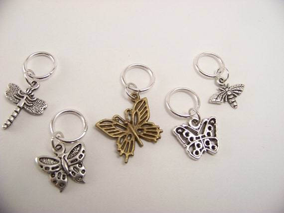 Butterfly Knitting Stitch Markers, Set of 5 Charms, 3 Butterflies, Dragonfly, Bee