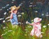 original oil painting impressionism children playing giclee signed print flower garden landscape fine art 11 x 14 frame ready