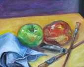 small Original oil painting impressionism paint brushes apples artist tools abstract still life fine art canvas 8 x 10