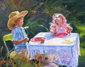 Tea for Two garden children flowers Giclee Print from Original Oil 9 x 12