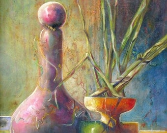 Large original abstract still life painting,surreal still life oil painting,modern contemporary art,home decor,Janice Trane Jones,wall decor