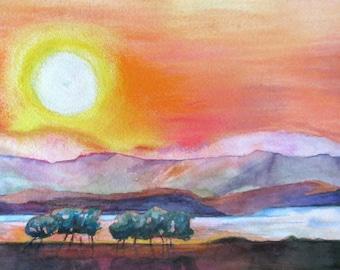 large Sunset Summer Original watercolor/pastel painting impressionism minimalist landscape trees lake  fine art 11 x 22