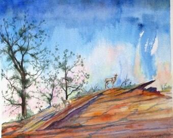 Original landscape wildlife watercolor painting impressionism bighorn sheep Zion western fine art 11 x 13