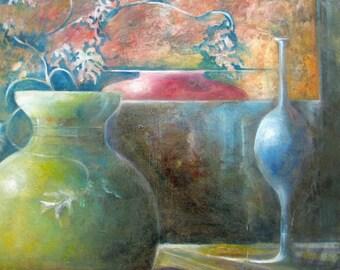 Original abstract still life oil painting, home decor, expressionism canvas art, wall decor, Janice Trane Jones, surreal still life art,