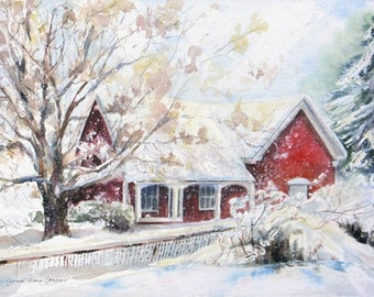 winter snow cottage signed print, snow watercolor, giclee, red cottage winter painting, wall decor,home decor,winter art, Janice Trane Jones