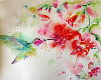 Hummingbird art, watercolor painting, giclee print, impressionism art, flowers painting, bird art print, wall decor, Janice Trane Jones