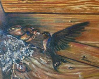 baby bird nest impressionism original oil painting wildlife barn landscape fine art 12 x 16