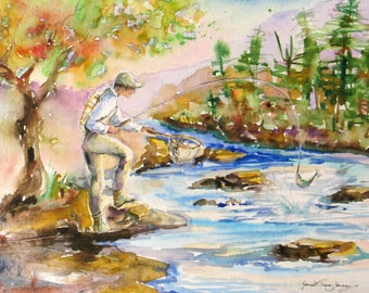 Fishing Original watercolor painting river stream fly fishing mountain landscape impressionism fine art 11 x 15