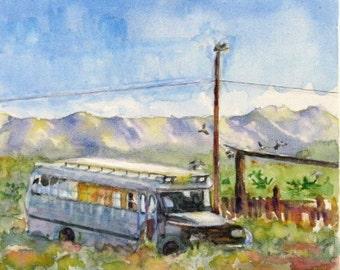 Original watercolor landscape painting vacation home southwest old bus birds desert  8 x 10