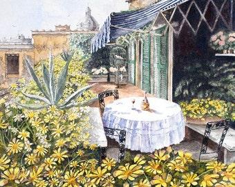 Tuscan Balcony landscape Original Watercolor painting, patio daisy garden, original painting of garden, home decor, wall decor,Italian scene