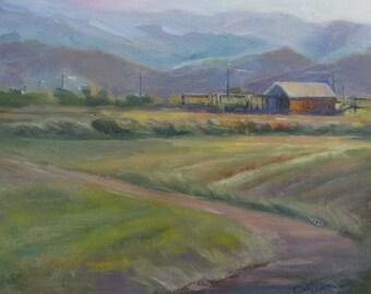 impressionism landscape Original Oil painting Road Farm barn western fine art barn 8 x 10