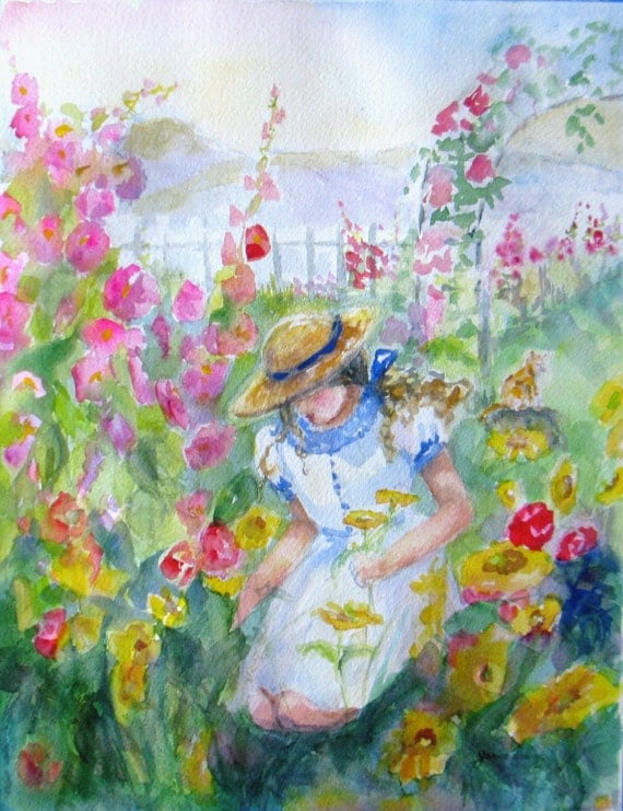 RESERVED FOR CONNIE girl flower garden Original watercolor painting floral landscape impressionism fine art 12 x 16 frame ready