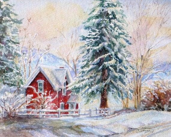 winter snow art print,  watercolor snow giclee painting, red cottage winter landscape print, wall decor, janice trane jones 11 x 14, winter