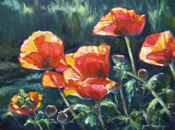 Reserved for Becky original oil painting garden flower landscape poppies realism fine art 12 x 16